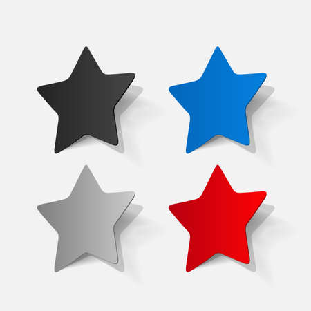 pentagonal: Paper clipped sticker: pentagonal star Illustration