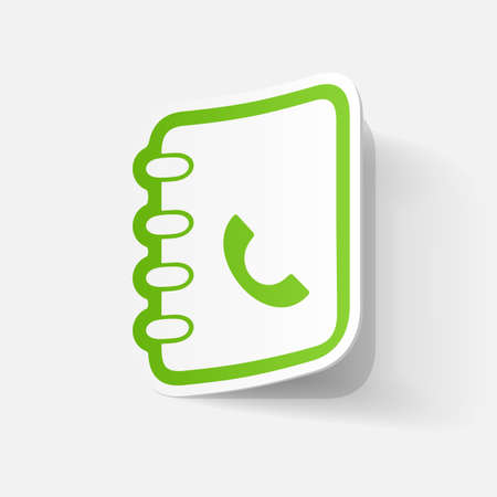 directory: Paper clipped sticker: telephone directory Illustration