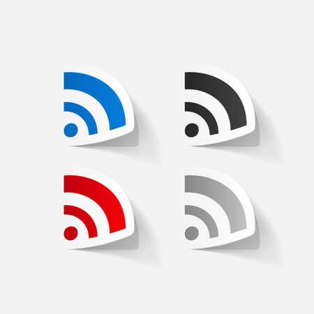 wireless network: Papel adhesivo recortado: S�mbolo de la red inal�mbrica