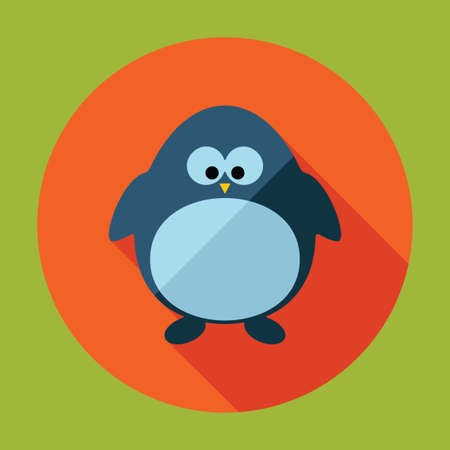 happy web: Flat modern design with shadow vector  penguin
