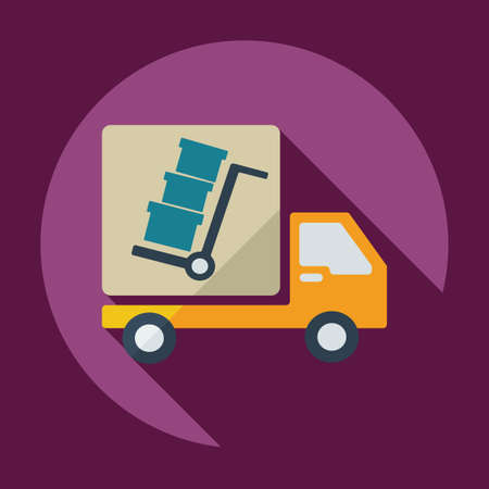 moving truck: Flat modern design with shadow icons car shipping Illustration