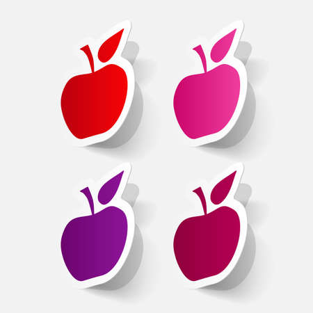clipped: Paper clipped sticker: apple fruit
