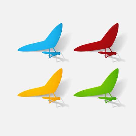 Paper clipped sticker: aircraft, glider