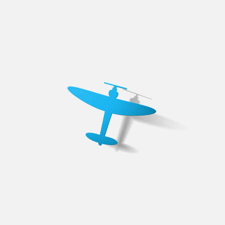 propeller: Paper clipped sticker: aircraft plane with propeller Stock Photo