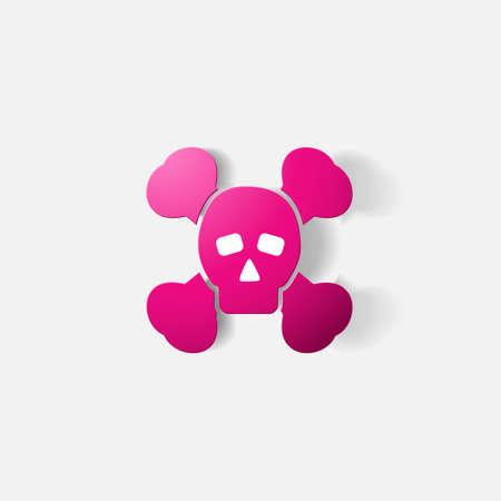 poison symbol: Paper clipped sticker: symbol poison skull and crossbones Illustration