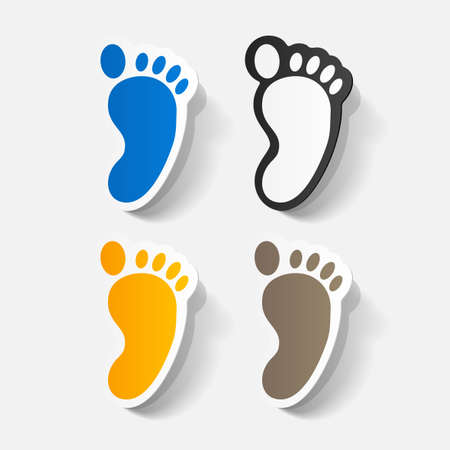 finger print: Paper clipped sticker: Footprint symbol Illustration