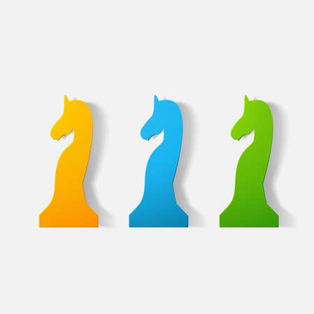 stead: Paper clipped sticker: chess piece horse Illustration