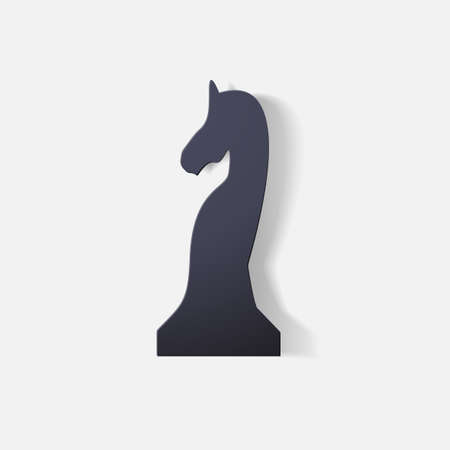 chess piece: Paper clipped sticker: chess piece horse Illustration