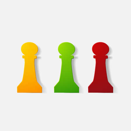 piece of paper: Paper clipped sticker: chess piece, pawn
