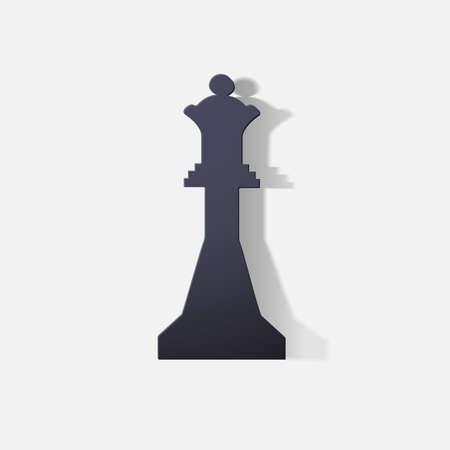 notice board: Paper clipped sticker: chess figure, Queen Illustration