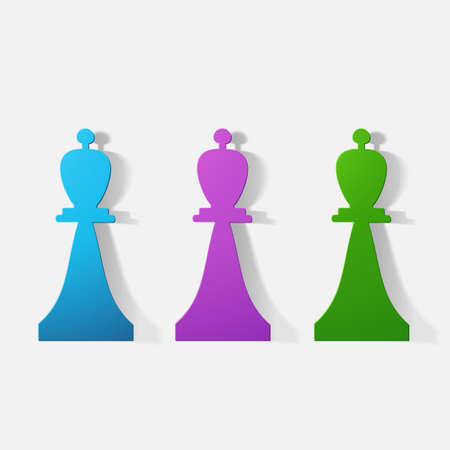 piece of paper: Paper clipped sticker: chess piece bishop