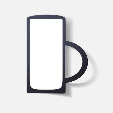 liquid: Paper clipped sticker: glass with liquid