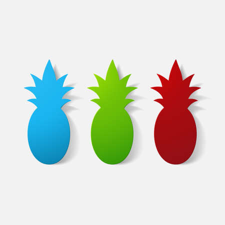 clipped: Paper clipped sticker: fruit, pineapple Illustration
