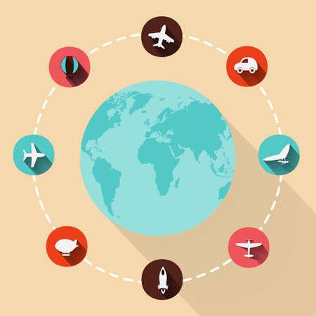 boeing: Paper clipped sticker: globe. transport Set Illustration