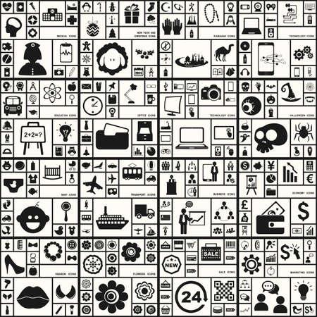 Large icons set. Vector illustration of flat Banco de Imagens - 40320053