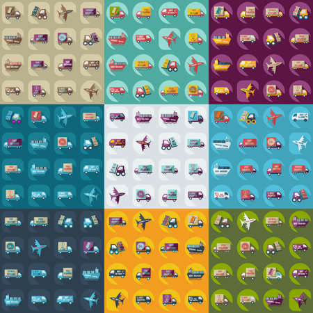 assemblage: assembly icons of transport delivery set collection Illustration