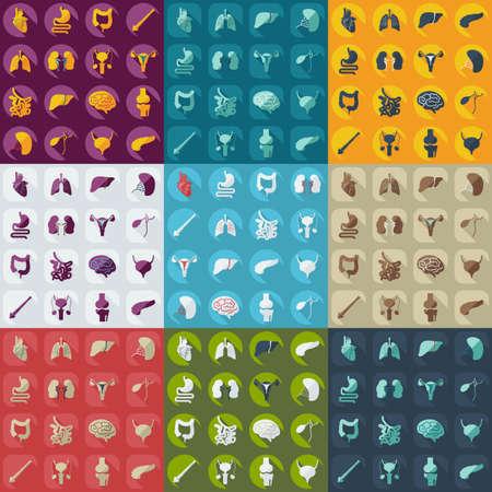 Mieszkanie koncepcja, ustaw nowoczesny design z narządów ludzkich cieni Ilustracja