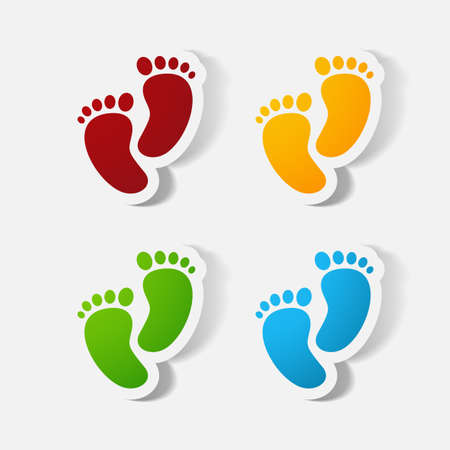 clipped: Paper clipped sticker: Footprint symbol. Illustration