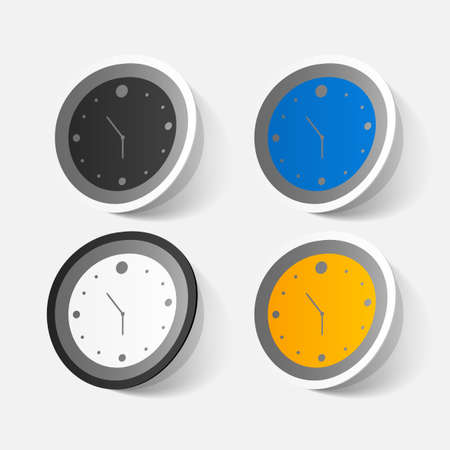 clipped: Paper clipped sticker: wall Clock Illustration
