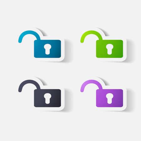 Paper clipped sticker: lock Vector