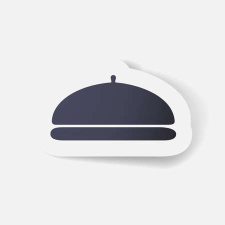 fine dining: Paper clipped sticker: Cloche Illustration