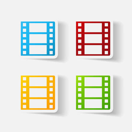 clipped: Paper clipped sticker: film Illustration