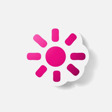 clipped: Paper clipped sticker: sun Illustration