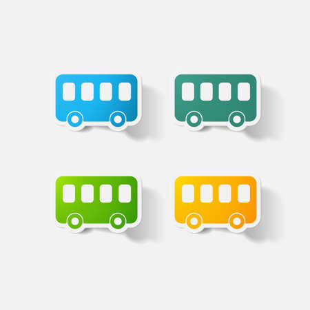clipped: Paper clipped sticker: bus Illustration