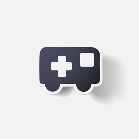 clipped: Paper clipped sticker: ambulance Illustration