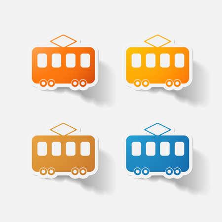 eps 10: Paper clipped sticker: tram Illustration