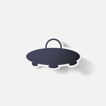 space invaders: Paper clipped sticker: UFO