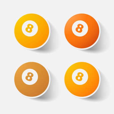 billiard ball: Paper clipped sticker: billiard ball with number Illustration
