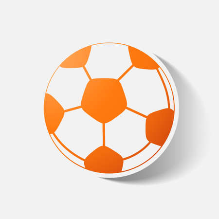 soccerball: Paper clipped sticker: soccer-ball