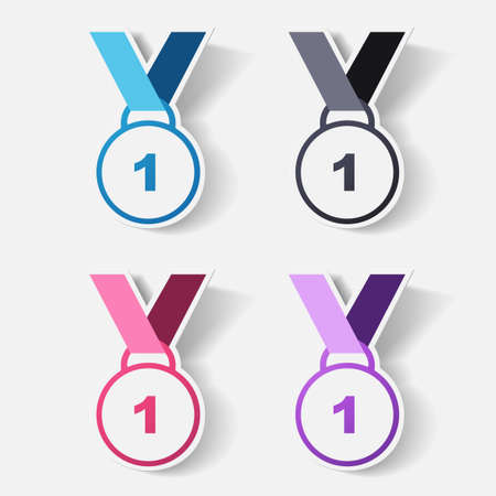 clipped: Paper clipped sticker: medal Illustration