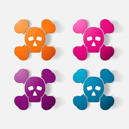 poison symbol: Paper clipped sticker: symbol poison skull and crossbones Illustration