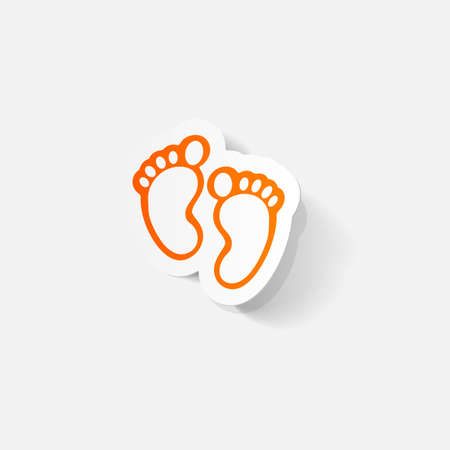 clipped: Paper clipped sticker: Footprint symbol Illustration