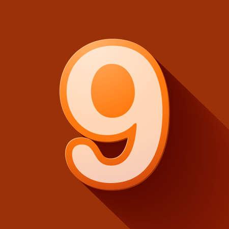 numero nueve: Número de iconos Volumen: nueve Vectores