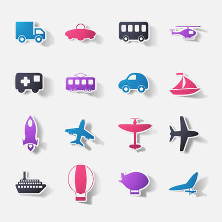 Paper clipped sticker: transport Set Vector