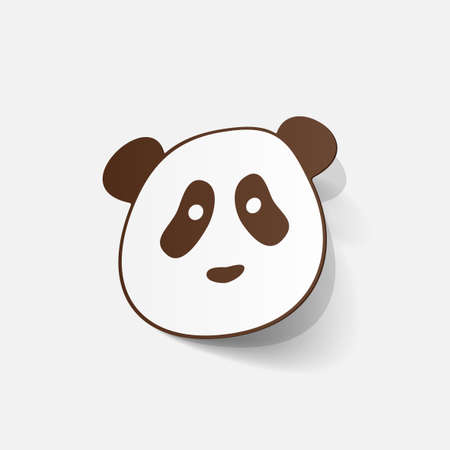 paper sticker: panda bear Vector