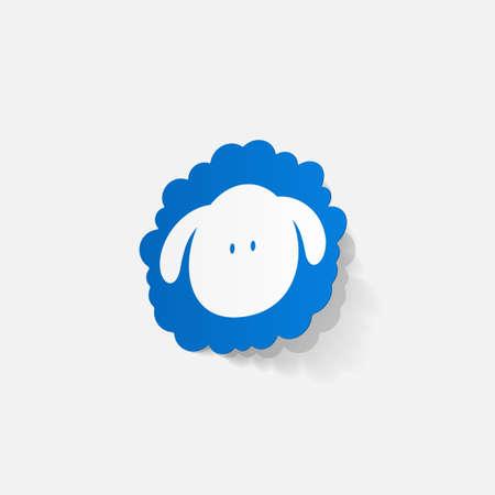 Realistic paper sticker: sheep Vector