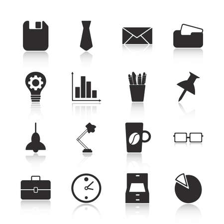 documents circulation: Flat concept, set modern design with shadow office icons Illustration
