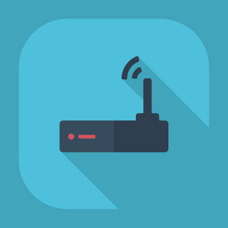 Flat modern design with shadow Internet Wi fi router Vector