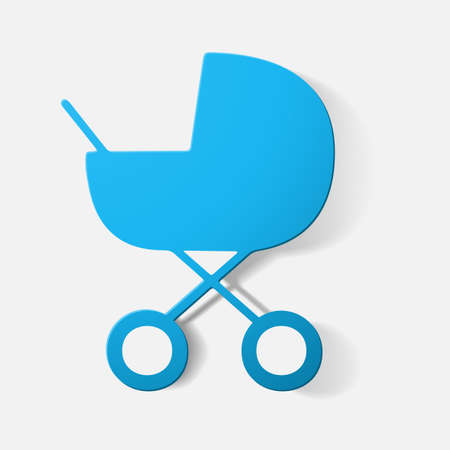 Paper clipped sticker: buggy. Isolated illustration icon