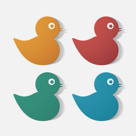 baby duck: Paper clipped sticker: baby duck. Isolated illustration icon Vettoriali