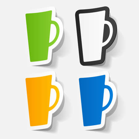 Paper clipped sticker: Coffee Cup . Isolated illustration icon Vector