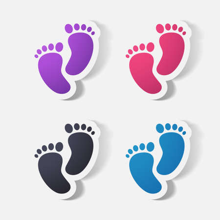 clipped: Paper clipped sticker: Footprint symbol. Isolated illustration icon