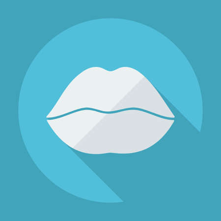 smooch: Flat modern design with shadow icon lips