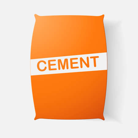 clipped: Paper clipped sticker: bag of cement. Isolated illustration icon