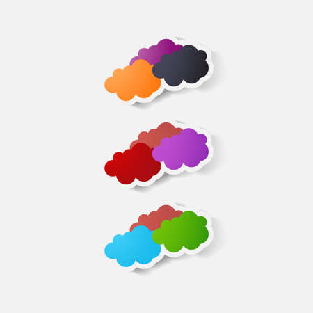 clipped: Paper clipped sticker: cloud.Paper clipped sticker: cloud Illustration