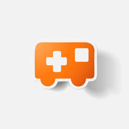 Paper clipped sticker: ambulance. Isolated illustration icon Vector